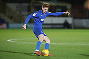 AFC Wimbledon midfielder Alfie Eagan (28) passing the ball during the EFL Trophy group stage match between AFC Wimbledon and Stevenage at the Cherry Red Records Stadium, Kingston, England on 6 November 2018.