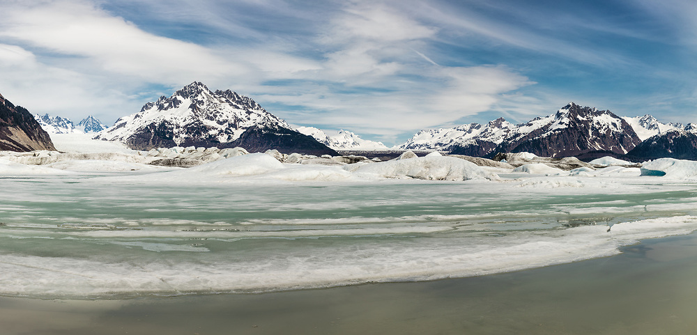 Panorama of terminus of Sheridan and Sherman Glaciers in Chugach National Forest in Southcentral Alaska. Spring. Afternoon.