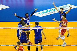 08.01.2016, Max Schmeling Halle, Berlin, GER, CEV Olympia Qualifikation, Frankreich vs Bulgarien, im Bild Jubel Mry?Sidibe (#21, Frankreich/France), Julien?Lyneel (#11, Frankreich/France) und Je?nia?Grebennikov (#2, Frankreich/France) // during 2016 CEV Volleyball European Olympic Qualification Match between France and Bulgaria at the  Max Schmeling Halle in Berlin, Germany on 2016/01/08. EXPA Pictures © 2016, PhotoCredit: EXPA/ Eibner-Pressefoto/ Wuechner<br /> <br /> *****ATTENTION - OUT of GER*****