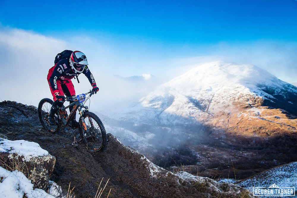 Martin Peak of the Army Enduro MTB Team enjoys the traverse on stage one of the Kinlochleven Enduro.