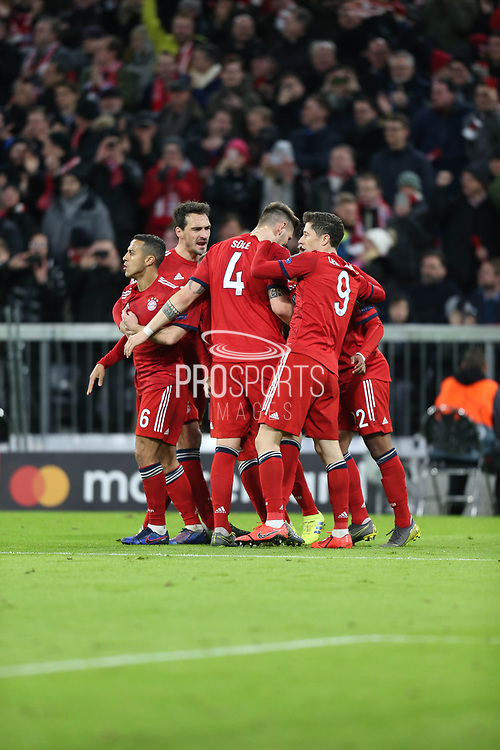 GOAL 1-1 Bayern Munich players celebrate their equaliser during the Champions League match between Bayern Munich and Liverpool at the Allianz Arena, Munich, Germany, on 13 March 2019.