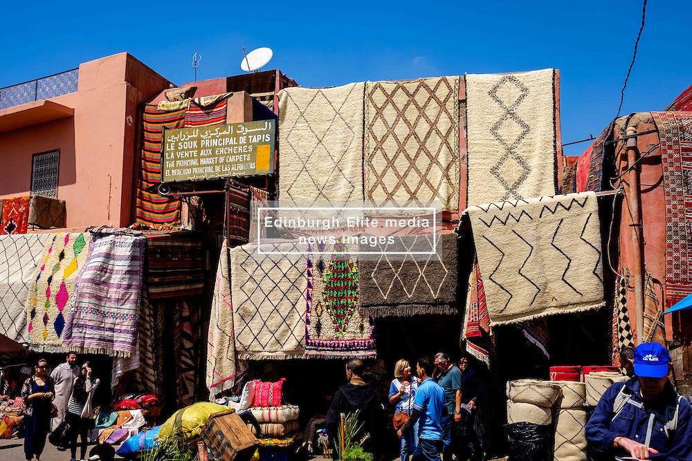 Carpets for sale in a market square  in the medina, Marrakech, Morocco, North Africa<br /> <br /> (c) Andrew Wilson | Edinburgh Elite media