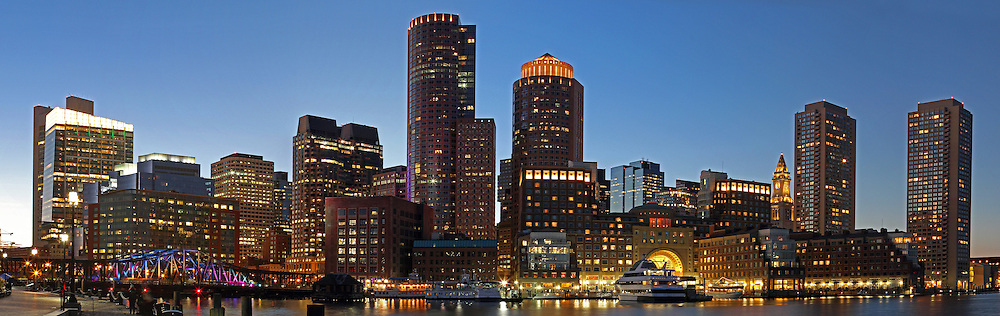 Boston scenic photography panorama image showing Boston Harbor and  skyline.