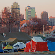 Tents in the cold weather for Occupy KC, January 2012