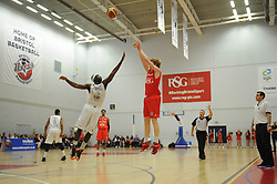Bristol Flyers' Mathias Seilund takes a shot - Photo mandatory by-line: Dougie Allward/JMP - Mobile: 07966 386802 - 18/04/2015 - SPORT - Basketball - Bristol - SGS Wise Campus - Bristol Flyers v Leeds Force - British Basketball League