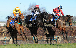 Race Winner Midnight Lira (far left) ridden by James Best jumps a fence during the South West Racing Club Handicap Chase (Class 4) (5YO plus) - Photo mandatory by-line: Harry Trump/JMP - Mobile: 07966 386802 - 17/02/15 - SPORT - Equestrian - Horse Racing - Taunton Racecourse, Somerset, England.