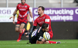 Jack Wallace of Bristol United clashes with Mike Haines of Exeter Braves  - Mandatory by-line: Gary Day/JMP - 09/09/2017 - RUGBY - Sandy Park Stadium - Exeter, England - Exeter Braves v Bristol United - Aviva A League