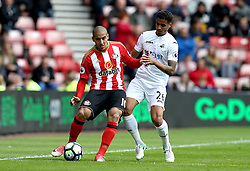 Wahbi Khazri of Sunderland takes on Kyle Naughton of Swansea City - Mandatory by-line: Robbie Stephenson/JMP - 13/05/2017 - FOOTBALL - Stadium of Light - Sunderland, England - Sunderland v Swansea City - Premier League