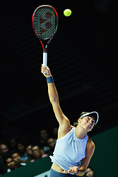 SINGAPORE, Oct. 23, 2017  Caroline Garcia of France competes during the group match against Simona Halep of Romania at WTA Finals tennis tournament in Singapore, Oct. 23, 2017. (Credit Image: © Then Chih Wey/Xinhua via ZUMA Wire)