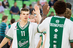 Dino Muric of Union Olimpija during basketball match between KK Union Olimpija and KK Krka in 4th Final match of Telemach Slovenian Champion League 2011/12, on May 24, 2012 in Arena Stozice, Ljubljana, Slovenia.  (Photo by Vid Ponikvar / Sportida.com)