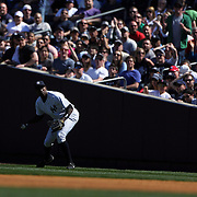 Alfonso Soriano, New York Yankees, drops a fly ball in right field from Xander Bogaerts, Boston Red Sox during the New York Yankees V Boston Red Sox baseball game at Yankee Stadium, The Bronx, New York. 12th April 2014. Photo Tim Clayton
