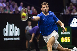 September 21, 2018 - Chicago, Illinois, U.S - GRIGOR DIMITROV of Bulgaria returns a forehand during the first match on Day One of the Laver Cup at the United Center. Dimitrov beat Tiafoe 6-1, 6-4. (Credit Image: © Shelley Lipton/ZUMA Wire)