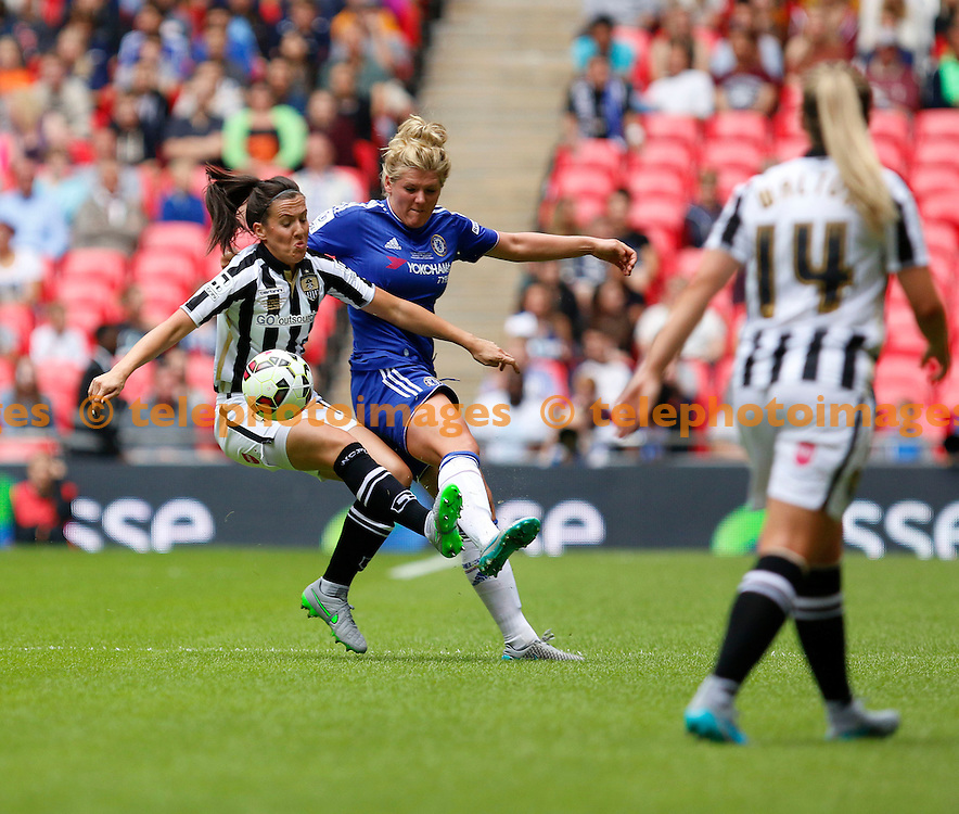 Jess Clarke of Notts County Ladies holds off Millie Bright of Chelsea Ladies during the SSE Women's FA Cup final between Chelsea Ladies and Notts County Ladies at Wembley Stadium on the 1/8/2015<br /> Carlton Myrie / TELEPHOTO IMAGES