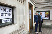 UNITED KINGDOM, London: 3 May 2018 British Prime Minister Theresa May and her husband Philip May stand outside the polling station at the Methodist Central Hall in Westminster this morning after casting their vote for the local elections in 150 local authorities. Rick Findler / Story Picture Agency