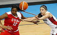 Jul 18, 2015; Toronto, Ontario, CAN; Canada center Natalie Achonwa (11) and Cuba forward Clenia Noblet (12) go after a loose ball in the women's basketball preliminary round during the 2015 Pan Am Games at Ryerson Athletic Centre. Mandatory Credit: Peter Casey-USA TODAY Sports