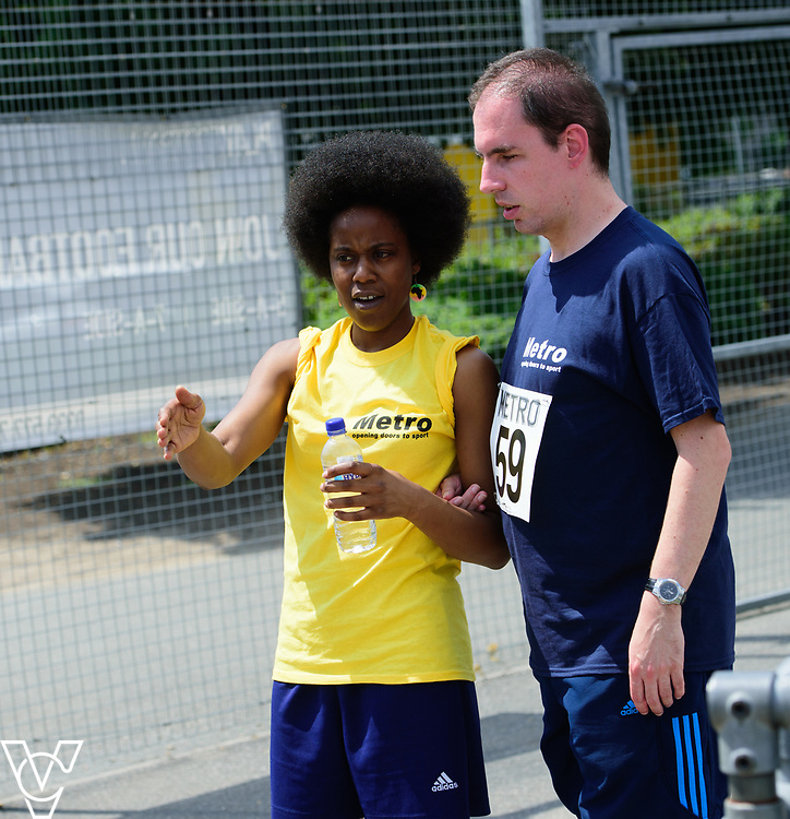 Metro Blind Sport's 2017 Athletics Open held at Mile End Stadium.  100m.  Vanja Sudar with guide runner<br /> <br /> Picture: Chris Vaughan Photography for Metro Blind Sport<br /> Date: June 17, 2017