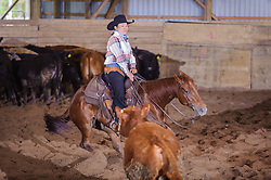 May 20, 2017 - Minshall Farm Cutting 3, held at Minshall Farms, Hillsburgh Ontario. The event was put on by the Ontario Cutting Horse Association. Riding in the 1,000 Amateur Class is Katie Leung on Missancattin owned by the rider.