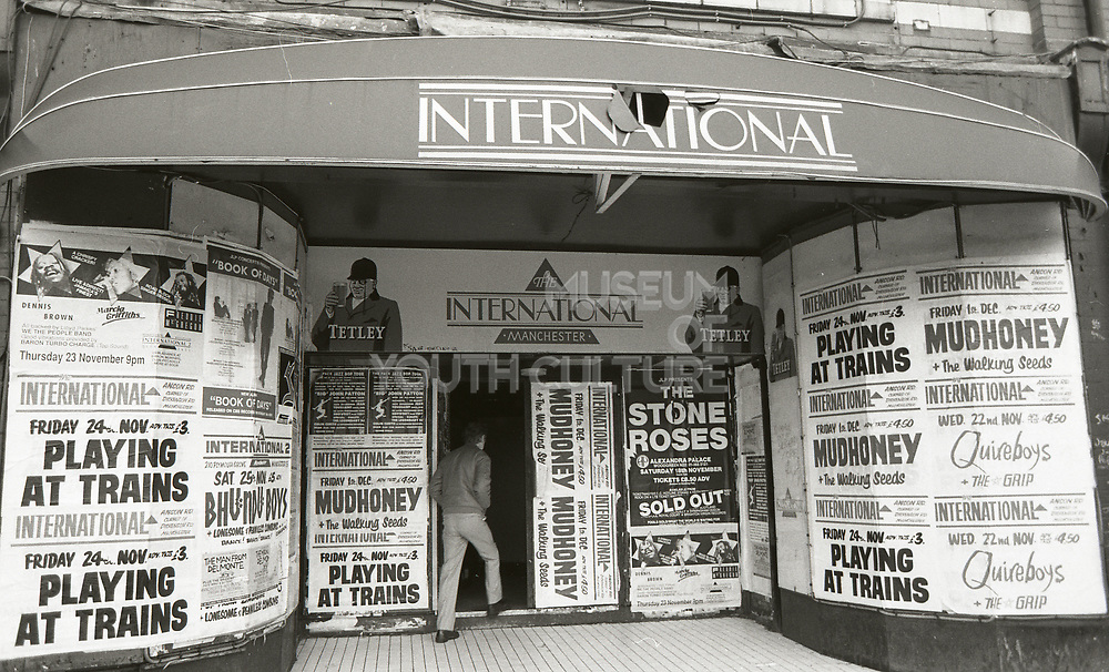 The International nightclub entrance, Manchester. Noted as a key venue for The Stone Roses and other bands in the 1980s.