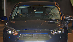 © Licensed to London News Pictures. 14/01/2019. Anerley, UK.  Blue car which has a smashed windscreen. A mother has been killed and a child is in hosptial fighting for life after being hit by a car crossing the road in Anerley near Penge.<br />   Photo credit: Grant Falvey/LNP