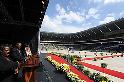 (President Cyril Ramaphosa delivers Eulogy at the Special Official Funeral service for the late Winnie Madikizela-Mandela). Special Official Funeral service for the late Winnie Madikizela-Mandela at Orlando Stadium in Soweto, Gauteng Province. South Africa. 14/04/2018. Siyabulela Duda