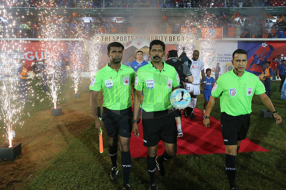 Match officials during match 8 of the Indian Super League (ISL) season 3 between FC Goa and FC Pune City held at the Fatorda Stadium in Goa, India on the 8th October 2016.<br /> <br /> Photo by Faheem Hussain / ISL/ SPORTZPICS
