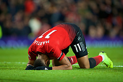 MANCHESTER, ENGLAND - Sunday, October 28, 2018: Manchester United's Anthony Martial looks dejected after missing a chance during the FA Premier League match between Manchester United FC and Everton FC at Old Trafford. (Pic by David Rawcliffe/Propaganda)