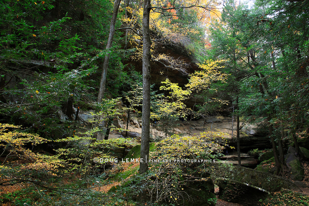 The Scenic Old Man's Cave State Park Dressed In The Colors Of Autumn, The Hocking Hills Region Of Central Ohio, USA