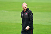 Jack Leach of Somerset warming up before the Specsavers County Champ Div 1 match between Somerset County Cricket Club and Middlesex County Cricket Club at the Cooper Associates County Ground, Taunton, United Kingdom on 28 September 2017. Photo by Graham Hunt.