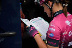 Tereza Medvedova checks the course book before La Course 2017 - a 67.5 km road race, from Briancon to Izoard on July 20, 2017, in Hautes-Alpes, France. (Photo by Sean Robinson/Velofocus.com)