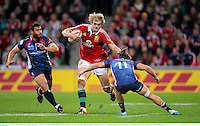 25 June 2013; Richie Gray, British & Irish Lions, is tackled by Lachlan Mitchell, Melbourne Rebels. British & Irish Lions Tour 2013, Melbourne Rebels v British & Irish Lions. AAMI Park, Olympic Boulevard, Melbourne, Australia. Picture credit: Stephen McCarthy / SPORTSFILE