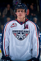 KELOWNA, CANADA - OCTOBER 27: Juuso Välimäki #6 of the Tri-City Americans lines up against the Kelowna Rockets on October 27, 2017 at Prospera Place in Kelowna, British Columbia, Canada.  (Photo by Marissa Baecker/Shoot the Breeze)  *** Local Caption ***