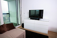Interior of apartment with flat screen television