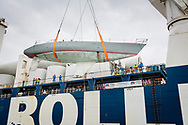 The record breaking yacht, Maiden, is lowered into UK waters for after being found abandoned in the Seychelles<br /> <br /> Tracy Edwards MBE and crew reunited with Maiden 27 years after sailing into the history books. Maiden and her all-female crew competed in the Whitbread Round The World Race in 1989/90 winning two legs and coming second overall. Over the next 12 months, Maiden will be restored in Hamble near Southampton. She will then sail around the world as an ambassador for the Maiden Factor, to promote access to education for girls.<br /> Picture date: Monday April 24, 2017.<br /> Photograph by Christopher Ison &copy; Empics<br /> 07544044177<br /> chris@christopherison.com<br /> www.christopherison.com