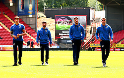 Tom Broadbent, Dominic Telford, Ryan Sweeney and Jonny Burn of Bristol Rovers arrive at The Valley for the opening day of the Sky Bet League One 2017/18 Season - Mandatory by-line: Robbie Stephenson/JMP - 05/08/2017 - FOOTBALL - The Valley - Charlton, London, England - Charlton Athletic v Bristol Rovers - Sky Bet League One