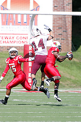 02 October 2010:  A pass intended for Joe Allaria gets picked off by E.J. Jones during an NCAA football game where the Southern Illinois Salukis beat the Illinois State Redbirds 3817 at Hancock Stadium in Normal Illinois.