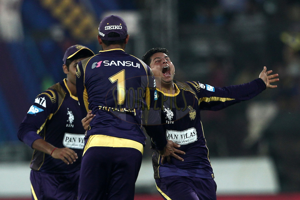 Manish Pandey , Kuldeep Singh Yadav of the Kolkata Knight Riders celebrates the wicket of  Nathan Coulter-Nile of Perth Scorchers during match 10 of the Oppo Champions League Twenty20 between the Kolkata Knight Riders and the Perth Scorchers held at the Rajiv Gandhi Cricket Stadium, Hyderabad, India on the 24th September 2014<br /> <br /> Photo by:  Deepak Malik / Sportzpics/ CLT20<br /> <br /> <br /> Image use is subject to the terms and conditions as laid out by the BCCI/ CLT20.  The terms and conditions can be downloaded here:<br /> <br /> http://sportzpics.photoshelter.com/gallery/CLT20-Image-Terms-and-Conditions-2014/G0000IfNJn535VPU/C0000QhhKadWcjYs