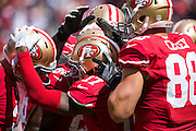 San Francisco 49ers celebrate after a touchdown against the Dallas Cowboys at Levis Stadium in Santa Clara, Calif., on October 2, 2016. (Stan Olszewski/Special to S.F. Examiner)