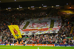 Liverpool, England - Wednesday, October 3, 2007: Liverpool fans on the Spion Kop unveil a large banner during the UEFA Champions League Group A match against Olympique de Marseille at Anfield. (Photo by David Rawcliffe/Propaganda)