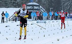 30.12.2011, DKB-Ski-ARENA, Oberhof, GER, Viessmann FIS Tour de Ski 2011, Pursuit/ Verfolgung Herren im Bild Axel Teichmann (GER) - Zieleinlauf, er sieht sich um und hat noch genug Luft für seinen Wiegen-Jubel . // during of Viessmann FIS Tour de Ski 2011, in Oberhof, GERMANY, 2011/12/30 .. EXPA Pictures © 2011, PhotoCredit: EXPA/ nph/ Hessland..***** ATTENTION - OUT OF GER, CRO *****
