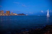 Waikiki at twilight, Oahu, Hawaii