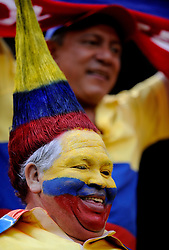 A fan of Colombia cheers at Giants Stadium in East Rutherford, N.J., August 12, 2009.