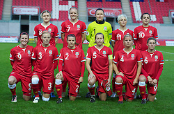 LLANELLI, WALES - Saturday, October 22, 2011: Wales' players line up for a team group photograph before the UEFA Women's EURO 2013 Qualifying Group 4 match against France at Parc Y Scarlets. Back row L-R: Helen Lander, Helen Bleazard, goalkeeper Nicola Davies, Jessica Fishlock, Gwennan Harries. Front row L-R: Helen Lander, Sophie Ingle, Loren Dykes, Jayne Ludlow, Kylie Davies, Amie Lea.  (Pic by Gareth Davies/Propaganda)