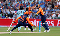 England's Jonny Bairstow makes it back to the crease after a near run-out during the ICC Cricket World Cup group stage match at Edgbaston, Birmingham.