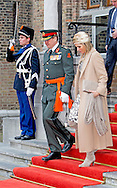 The Hague King Willem-Alexander and Minister Jeanine Hennis-Plasschaert and Queen Maxima attend the ceremony of the Militaire Willems-Orde which is awarded to majoor (Gijs) P. Tuinman.<br />
