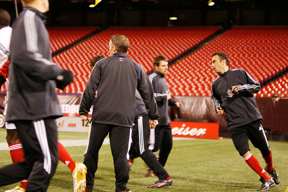 Saturday October 14th 2006. .Giants Stadium, East Rutherford, New Jersey. United States..Red Bulls French soccer player Youri Djorkaeff warms up before a game that could be his last one as a professional player against Kansas City at the Giants Stadium.