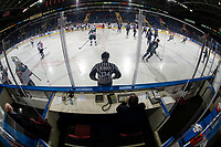 KELOWNA, CANADA - JANUARY 25:  The Kelowna Rockets warm up against the Victoria Royals on January 25, 2019 at Prospera Place in Kelowna, British Columbia, Canada.  (Photo by Marissa Baecker/Shoot the Breeze)