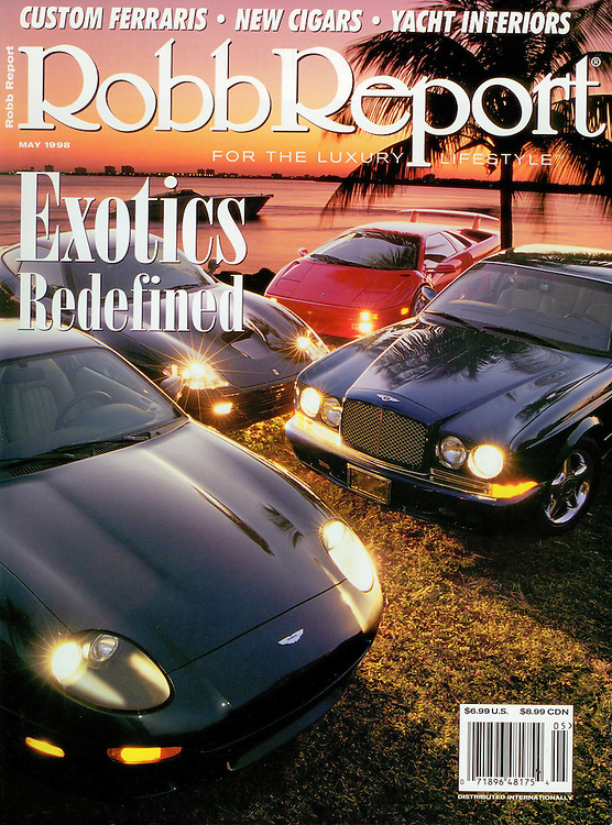 Magazine Cover - Robb Report automotive exotics group at sunset
