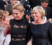 Julie Depardieu, Camille Moreau and Julie Gayet at the gala screening for the film The Unknown Girl (La Fille Inconnue) at the 69th Cannes Film Festival, Wednesday 18th May 2016, Cannes, France. Photography: Doreen Kennedy