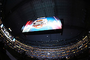 The gigantic overhead television screen features ESPN Monday Night Football before the Dallas Cowboys NFL week 8 regular season football game against the Washington Redskins on Monday, Oct. 27, 2014 Arlington, Texas. The Redskins won the game 20-17 in overtime. ©Paul Anthony Spinelli
