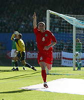 Photo: Andrew Unwin.<br />Northern Ireland v Wales. World Cup Qualifier.<br />08/10/2005.<br />Wales' Carl Robinson (C) celebrates as Northern Ireland's Maik Taylor (L) remonstrates with his defence.